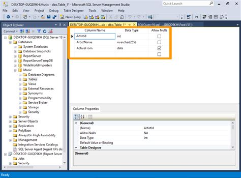 sql server system tables sql server 2016 create a table