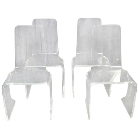 acrylic dining room chairs set of four vintage acrylic dining chairs at 1stdibs