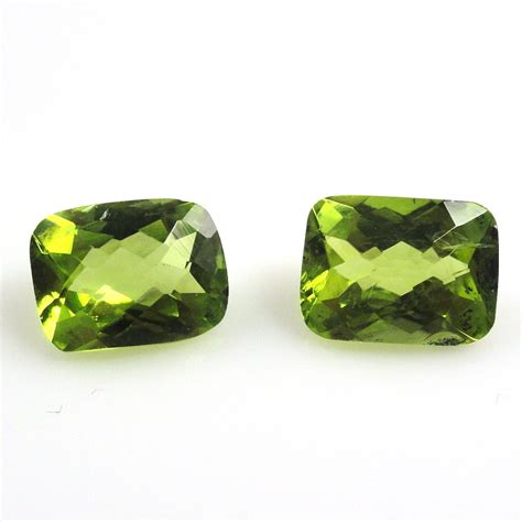 Green Cubic Zirconia 6 707 Ct peridot emerald cut 8x6mm matched pair approximately 3 8