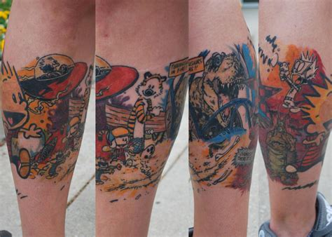 wrap around thigh tattoos calvin and hobbes leg wrap around by justin mccarty