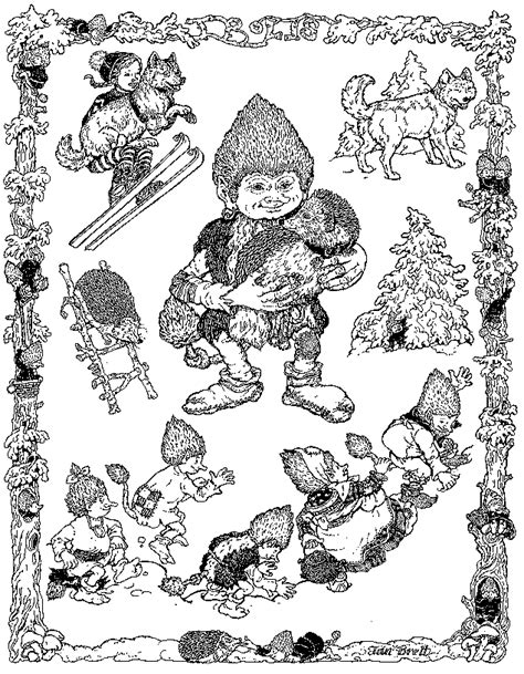Jan Brett Coloring Pages trouble with trolls coloring page