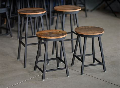 Handmade Bar Stools - buy made reclaimed barnboard custom steel bar