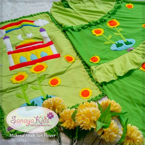 Motif Flower Hijau by Sanaya Collection Mukena Anak Mukena Terusan