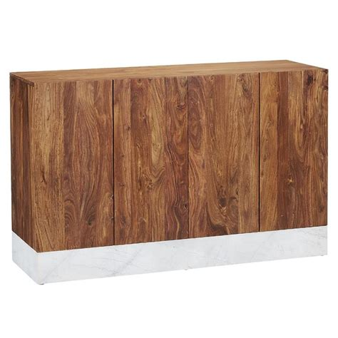 wooden credenza rectangular two tone marble credenza