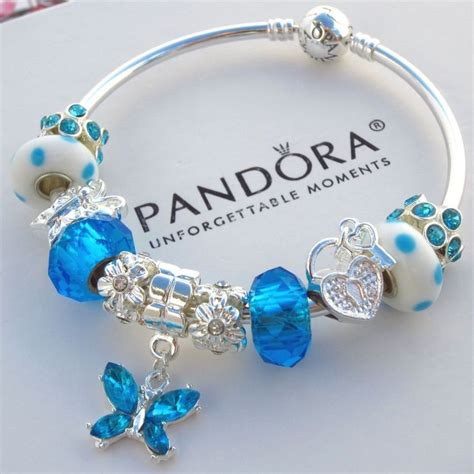 Butterfly Silver Charm With Light Blue Murano Glass P 6 authentic pandora bangle bracelet silver white blue butterfly murano charm bead pandorabracelet