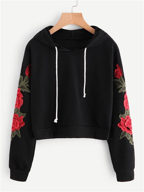 Embroidered Hoodie embroidered applique sleeve hoodie shein sheinside