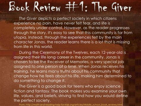 the giver book report book review slides