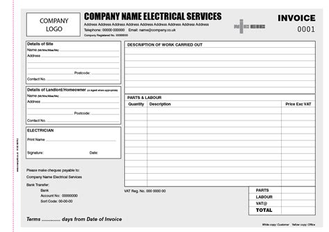 electrician invoice books personalised duplicate pads