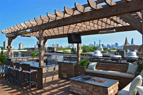 rooftop pit roof deck with pergola pit kegerator and seating