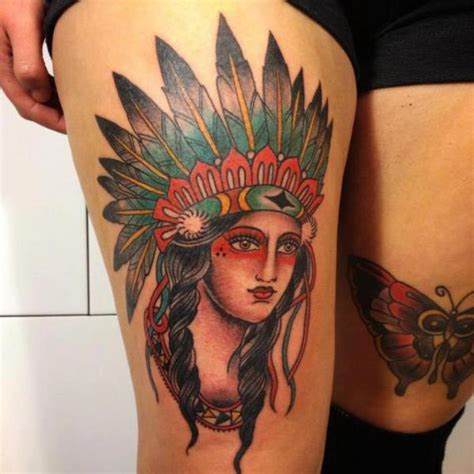 old school tattoo indian girl old school women indian thigh tattoo by carnivale tattoo