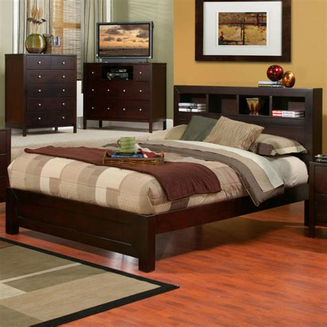 Platform Bed With Bookcase Headboard by Solana Cal King Platform Bed With Bookcase Headboard