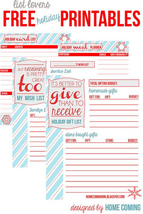 printable holiday planner home coming free printables holiday planning and lists