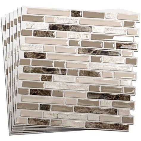plastic tile backsplash smart tiles 6 pack white beige brown glossy composite