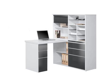 bureau gris blanc bureau contemporain avec rangement blanc gris brillant