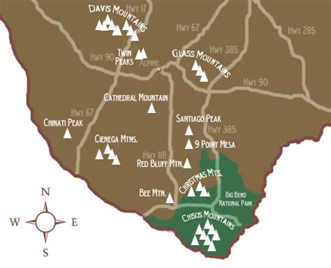 texas mountain ranges map mountains in texas map
