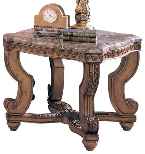 homelegance tarantula square end table with marble top