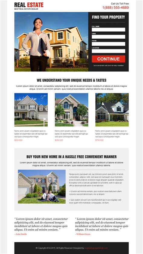 pages templates for real estate real estate landing page design to promote your real