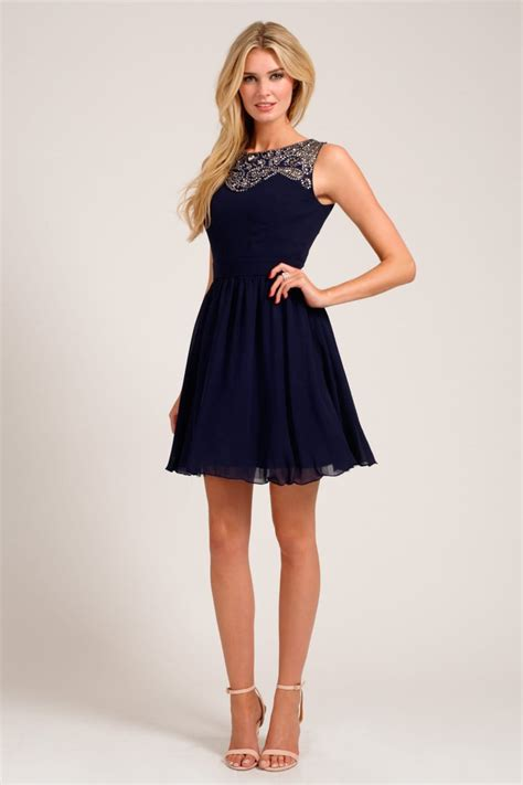 Sweetheart Dresses by Navy Embellished Lace Detail Sweetheart Neckline Prom Dress