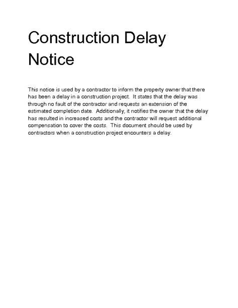 Welcome To Docs 4 Sale Construction Delay Report Template