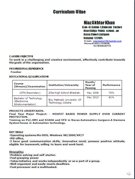 Resume Sles For B Tech Freshers Pdf resume co sle resume format in word doc for a b tech electronics instrumentation