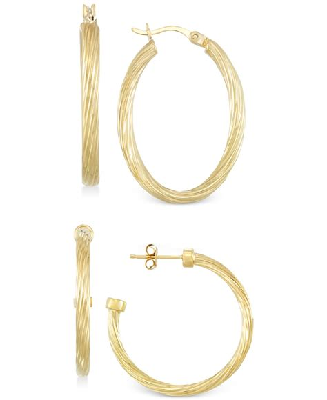 macy s set of two rope hoop earrings in 14k gold vermeil