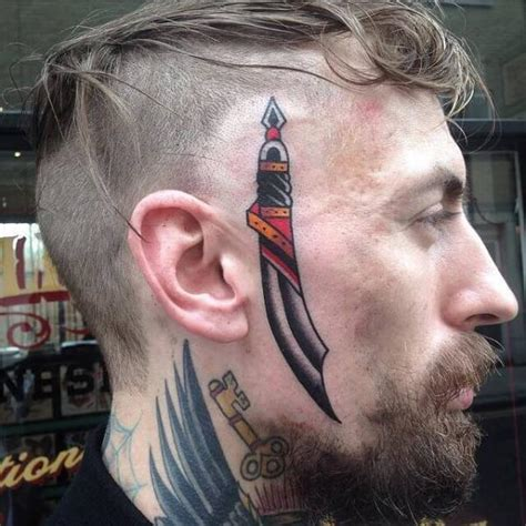 old face dagger tattoo by cloak and dagger tattoo