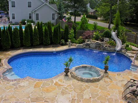 pool designs with slides pool town nj inground swimming pools with spa and slide
