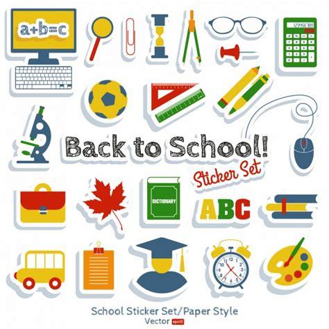 Aufkleber Schule by Back To School Sticker Set Vector Free