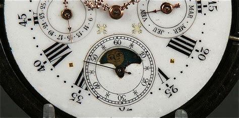calendario perpetuo fases lunares gran reloj de bolsillo suizo del s xix con calendario