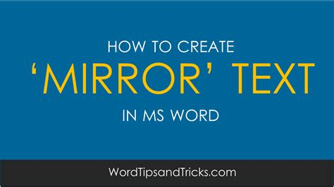 quick tip flip text for a mirror image in word techrepublic