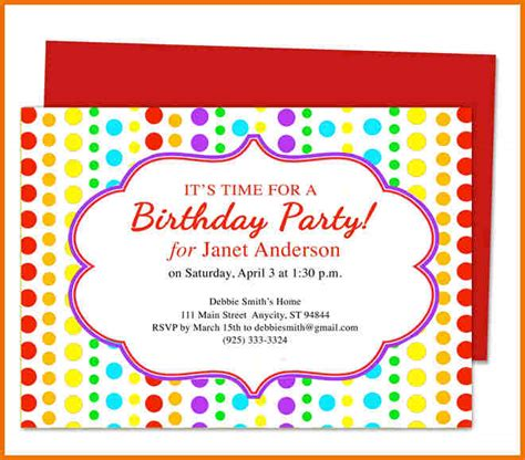 top 14 birthday party invitation template word