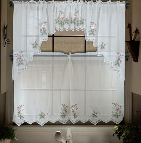 Sheer Kitchen Window Curtains Embroidery Valance Sheer Tulle Window Curtains For Kitchen Bedroom Curtains Tier Set Panel
