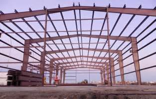 clear span modular multi span lean to steel file steel frame commercial building under construction