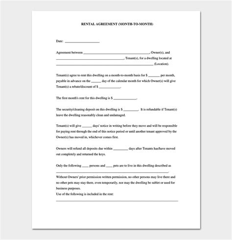 room rental agreement 7 sle docs for word pdf