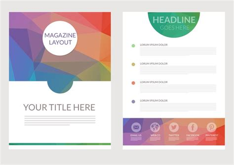 layout magazine template free download abstract triangular magazine layout vector download free