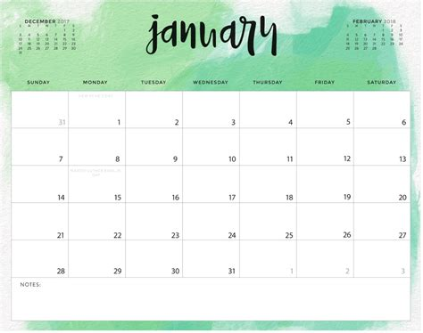 free january 2018 calendar printable the little frugal house