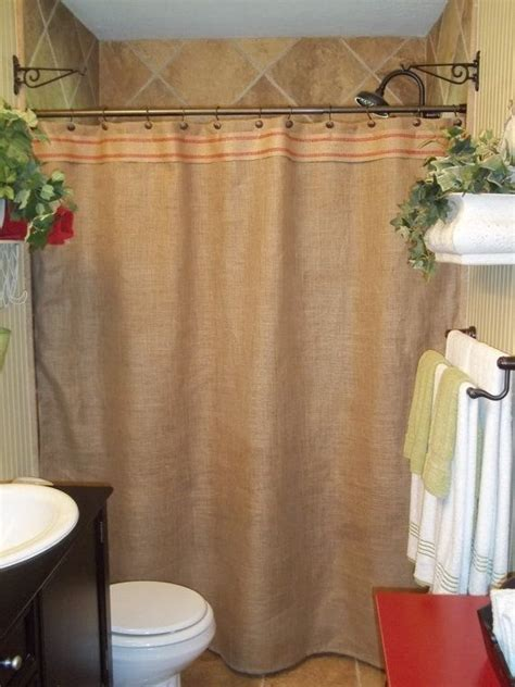 Burlap Shower Curtains Burlap Shower Curtain Stripe Trim By Simplyfrenchmarket 62 00 My Laundry Room