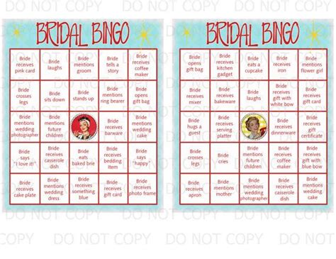 diy printable retro housewife theme bingo bridal shower