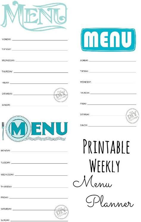 weekly menu planner printable free free printable weekly menu planners