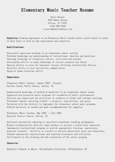 resume samples elementary music teacher resume sample