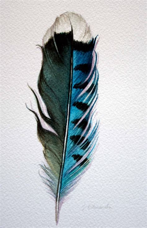 blue jay feather tattoo original watercolor feather study 178 blue feather