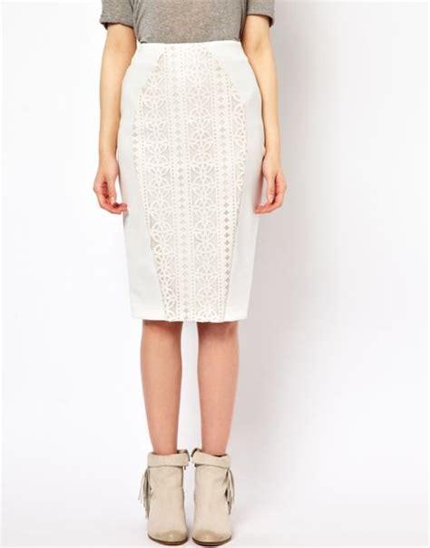 river island lazer cut pencil skirt in white lyst