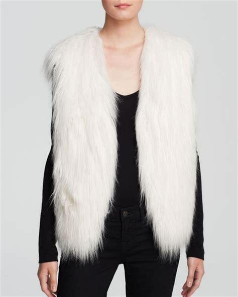 draped fur vest guess vest draped faux fur in white milk lyst