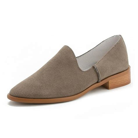 slip on flats shoes new 2016 fashion pointed toe genuine leather