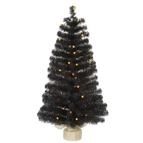 halloween trees with orange lights 3 5 foot artificial black halloween tree orange g12 leds