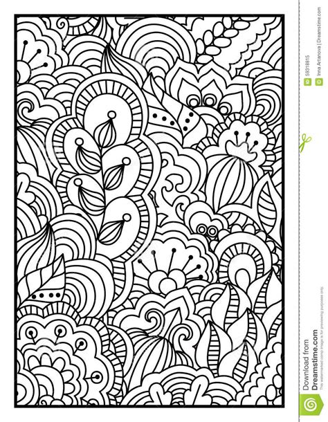 pattern  coloring book black  white background