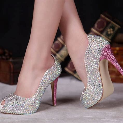 2015 Spring Summer AB Crystal Bridal Shoes Peep Toe