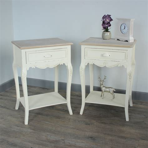 pair of cream wood bedside l tables shabby french chic