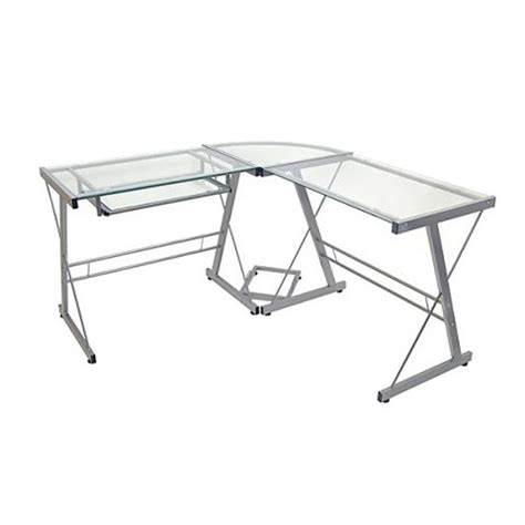 glass desk l shape l shaped glass corner computer desk walker edison target