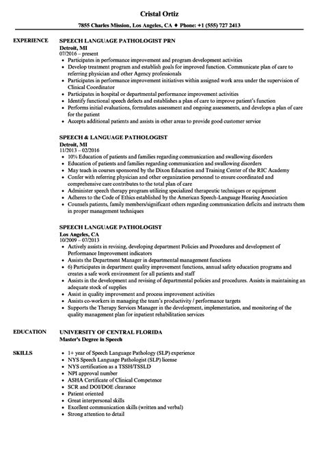 Speech Therapy Resume Objective by Speech Pathology Resume Exles Speech Pathologist Cover